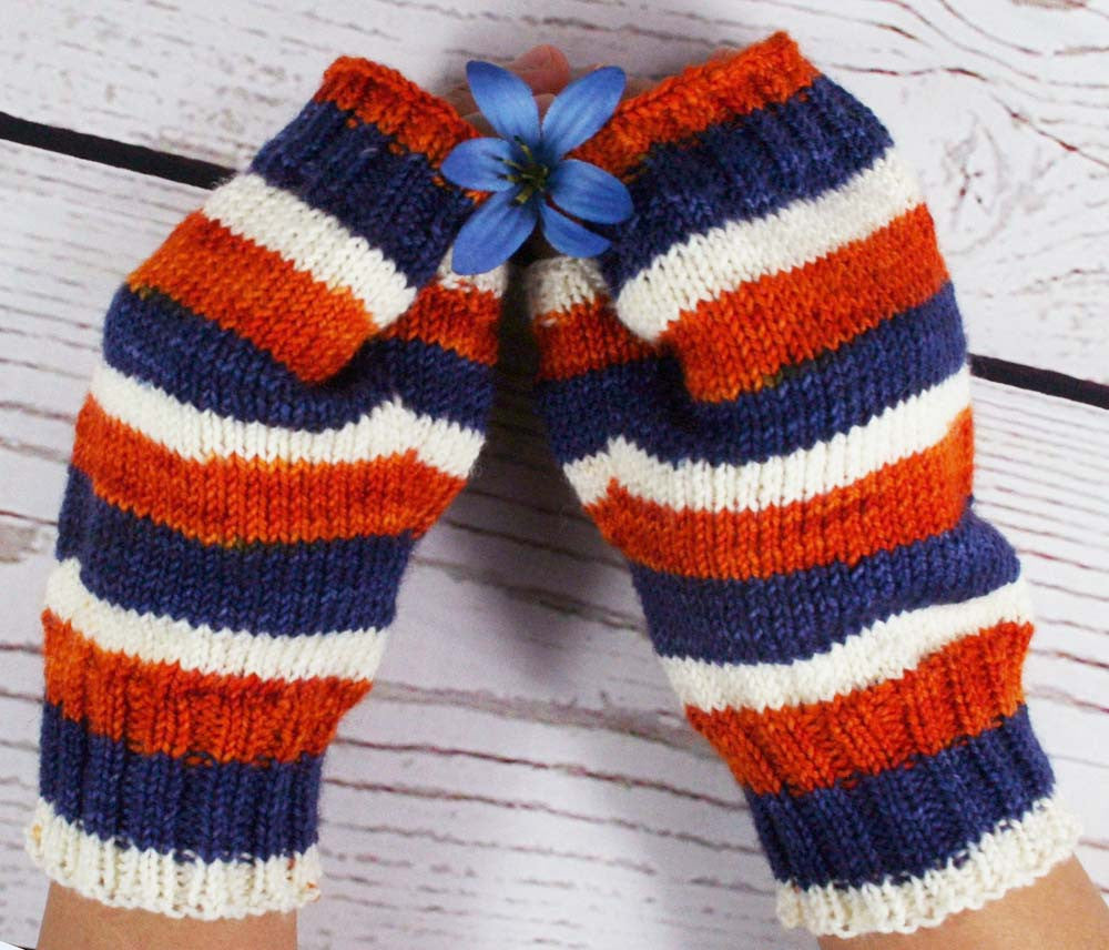 Fingerless Mitts - Hand dyed striped fingerless mitts / gloves - Medium size - Handmade Mitts
