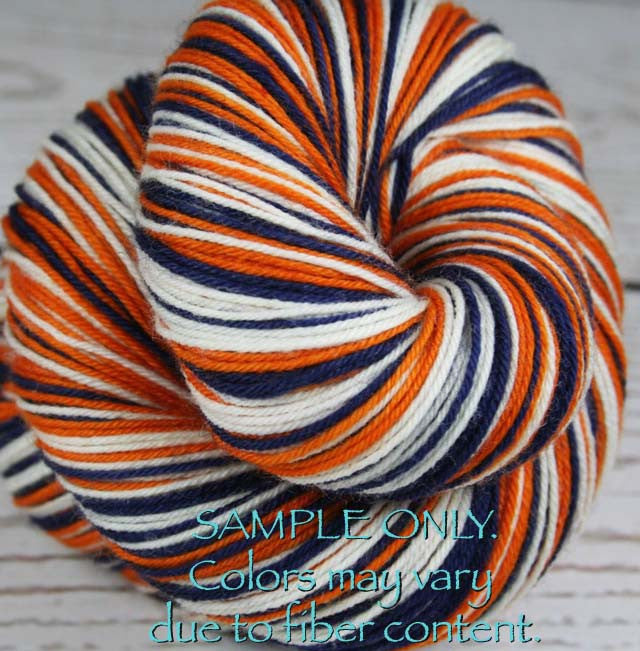 "Dyed to Order: Sports inspired Self-striping Sock Yarn - ""BLUE - ORANGE - WHITE"" - Hand dyed yarn - Indie dyed yarn - Team colors - Football yarn - Baseball Basketball Racing Hockey Soccer yarn - School colors yarn - DENVER, HOUSTON, BUFFALO, DETROIT"