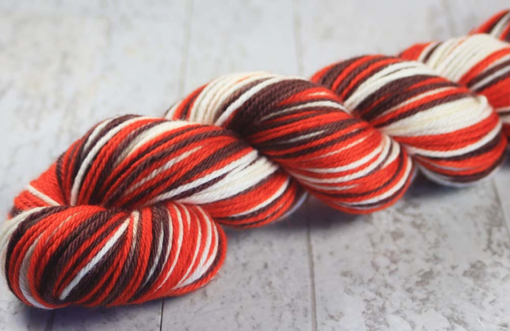 BROWN - ORANGE - WHITE: Superwash Merino - Worsted Weight - Hand dyed Self-Striping yarn - Cleveland