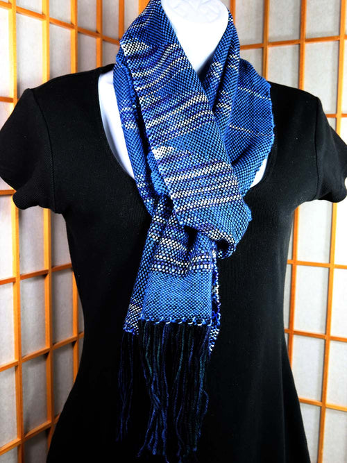 BLUE CLASPED WEFT SCARF: Superwash Merino-Nylon - Handwoven Hand dyed scarf