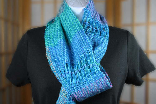 VERNA'S TEST COLORS: Superwash Merino-Nylon - Handwoven Handmade Hand dyed stripe scarf