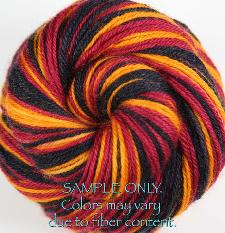Dyed-To-Order: BLUE-ORANGE-WHITE - Hand dyed Sports Self Striping Sock Yarn - DENVER, HOUSTON