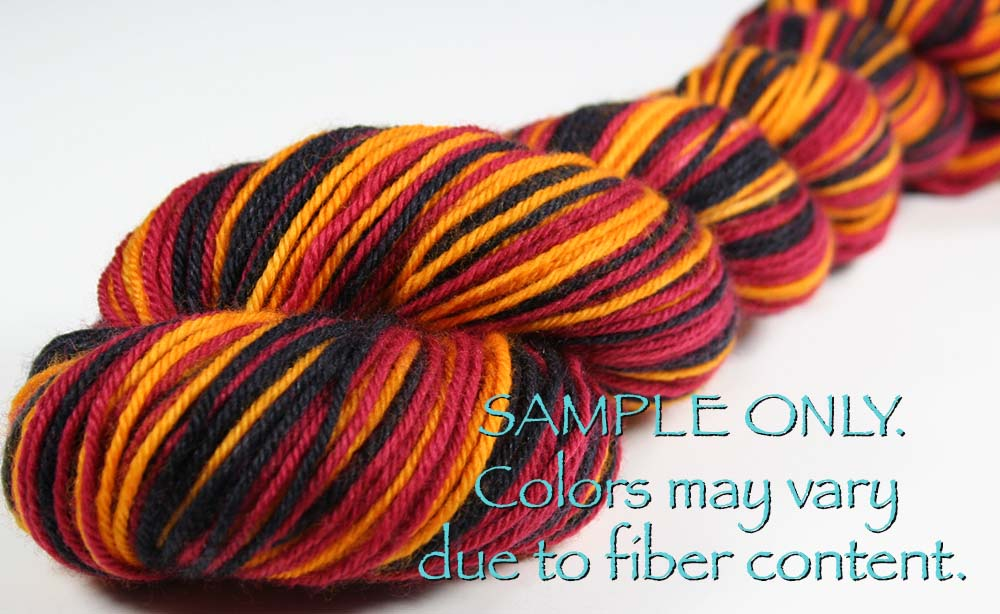 Dyed-To-Order: WINE-GOLD-BLACK - Hand-dyed Sports Team Self Striping Sock Yarn - CLEVELAND