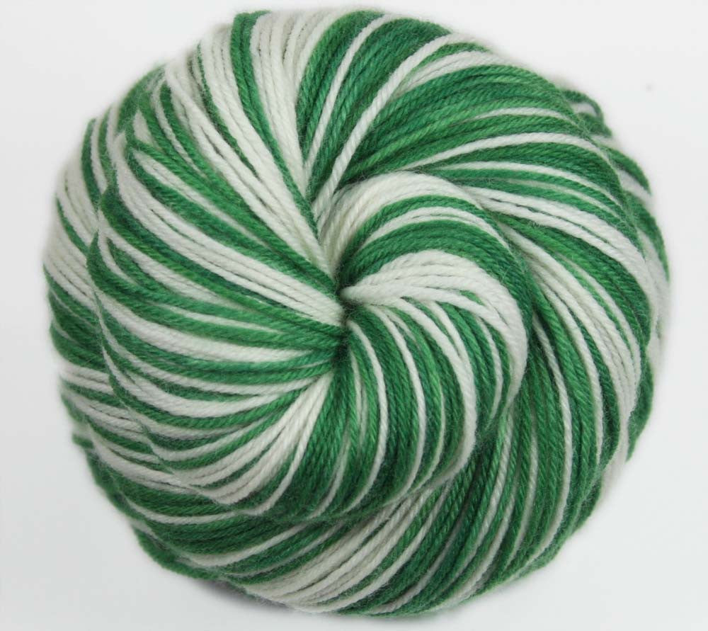 """GREEN - WHITE"": Superwash Merino-Nylon-Cashmere - Sports Inspired Self-striping Sock Yarn - Hand dyed - Football yarn - Basketball yarn - BOSTON"