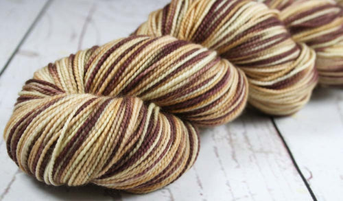 CHOCOLATE MOUSSE CAKE: SW Merino-Nylon - Hand dyed Variegated sock yarn - Kauai base