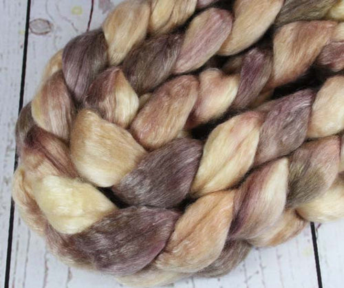 CHOCOLATE MOUSSE CAKE: Merino-Tencel Roving - 4.0 oz - Hand dyed wool - Indie dyed roving - Spinning wool  - Dessert wool