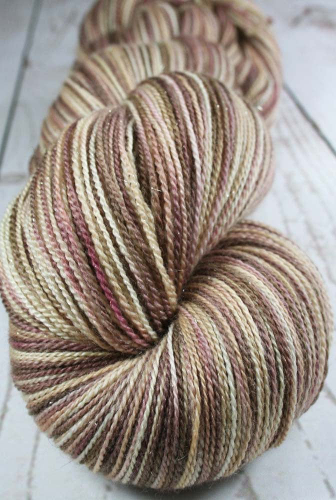 CHOCOLATE MOUSSE CAKE: Superwash Merino-Silk-Stellina Sparkle - Hand-dyed Lace Weight Yarn - 875 yards - Variegated lace yarn