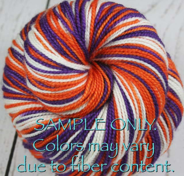 "Dyed to Order: Sports inspired Self-striping Sock Yarn - ""PURPLE - ORANGE - WHITE"" - Hand dyed sock yarn - Sports Team colors - School colors yarn - SOUTH CAROLINA, PHOENIX"