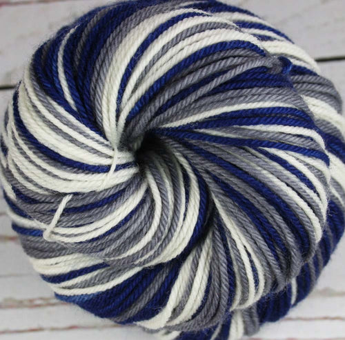 BLUE/GRAY/WHITE: Superwash Merino-Nylon - Self-Striping yarn DK weight yarn - Hand dyed DK yarn - Football Baseball Basketball Soccer Racing yarn - Team colors