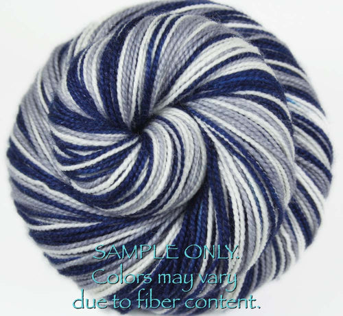 "Dyed to Order: Sports inspired Self-striping Sock Yarn - ""BLUE - GRAY - WHITE"" - Hand dyed yarn - Indie dyed yarn - Team colors - Football yarn - Baseball Basketball Racing Hockey Soccer yarn - School colors yarn - DALLAS, CONNECTICUT"