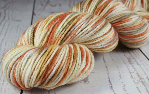 COCONUT CARAMEL PECAN WAFFLES: SW Merino - Hand dyed Variegated worsted weight yarn