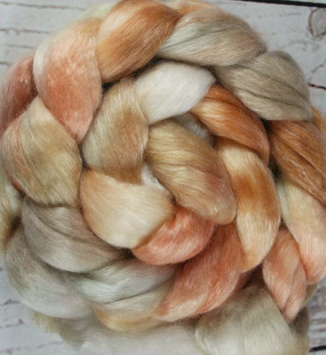 COCONUT CARAMEL PECAN WAFFLES: Merino-Tencel Roving - 4.0 oz - Hand dyed wool - hand dyed roving - spinning wool - Food themed wool - Dessert wool