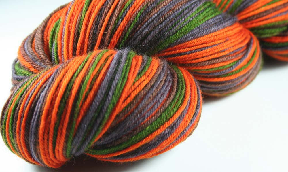 DARK CAMO: Superwash Merino Wool-Nylon-Cashmere - Self-Striping sock yarn - Hand dyed sock yarn - Camouflage
