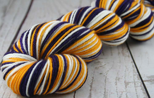 DARK PURPLE - GOLD - WHITE: Superwash Merino - Worsted Weight Yarn - Hand dyed Self-Striping yarn