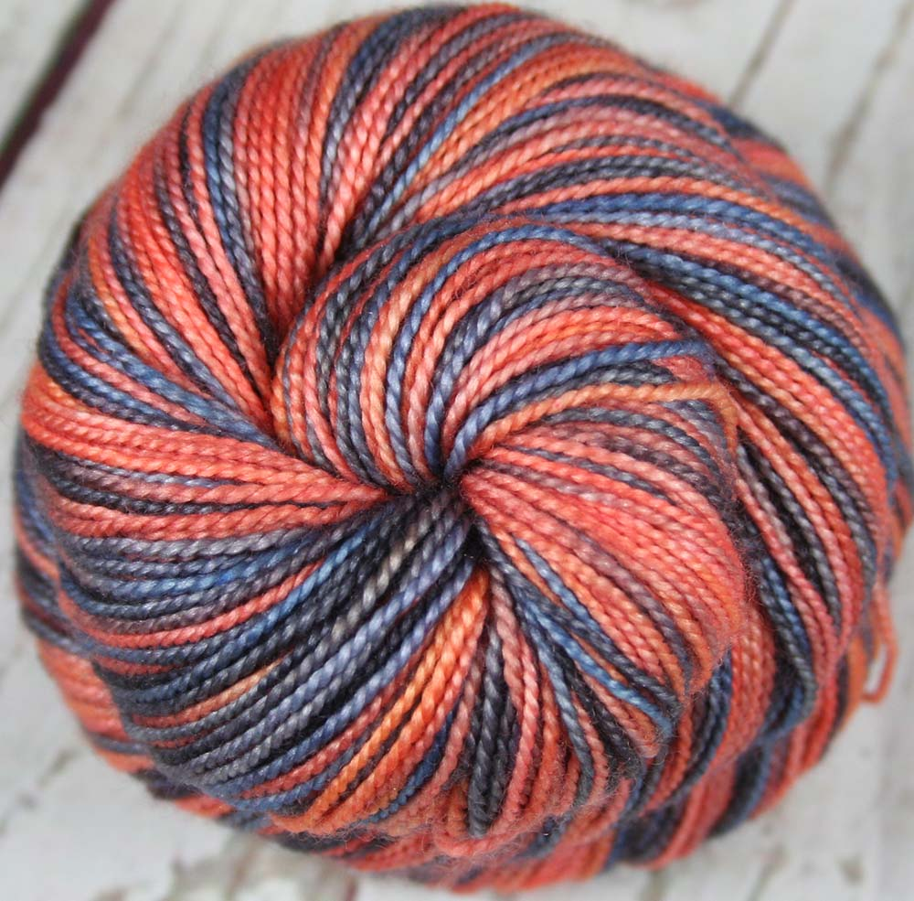 DIAMONDHEAD SUNSET 2: SW Merino Wool-Silk- Hand dyed Variegated sock yarn
