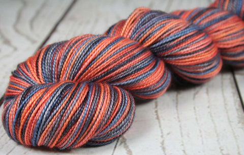 BLUE - RED - GRAY - SW Merino/Nylon - Hand dyed short-stripe sock yarn - NEW ENGLAND, COLUMBUS