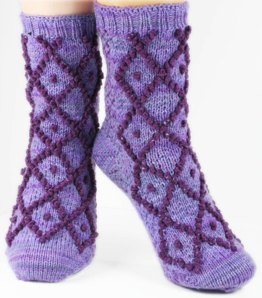 KNITTING PATTERN for Diamonds and Pearls Socks - Charted Colorwork Sock pattern - digital download