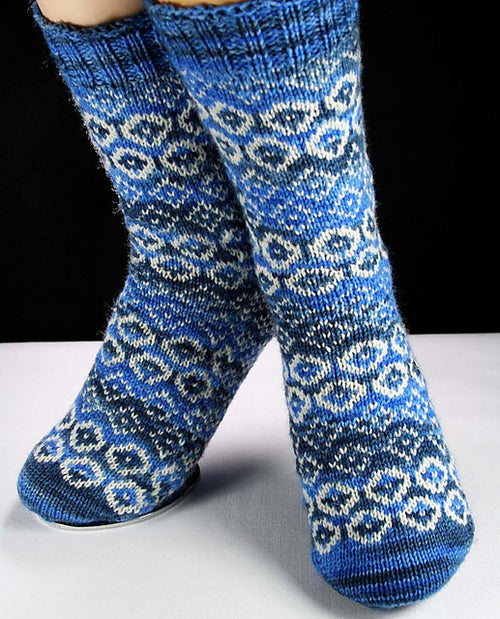 DIAMONDS in THE ROUGH Socks in Blue  / Hand knit, hand dyed Superwash Merino Wool, Nylon