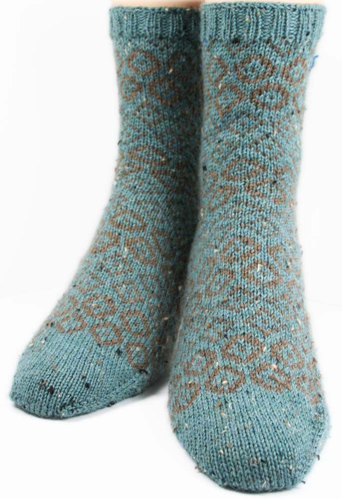 KNITTING PATTERN for Diamonds in the Rough Socks - Charted Sock pattern - digital download - Colorwork Stranded knitting