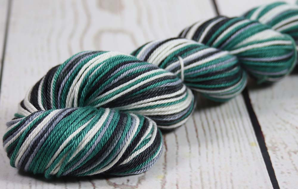 TEAL GREEN-BLACK-GRAY-WHITE: Self-Striping Pima Cotton - DK Weight - Hand dyed yarn