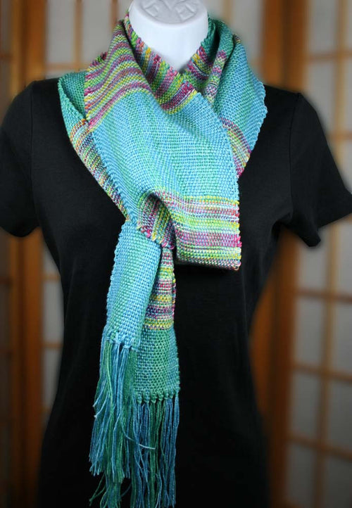 ENCHANTRESS SCARF: Superwash Merino-Nylon-Bamboo-Silk - Handwoven Scarf - Handmade Hand dyed stripe scarf