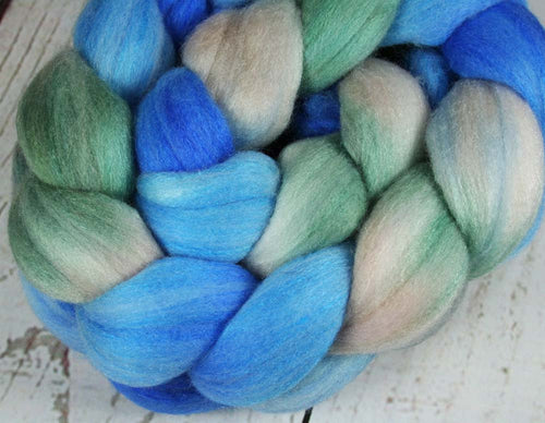 EVENING AT NANOOSE BAY: Polwarth Merino Bright Nylon roving - 4.0 oz - Hand dyed Spinning wool