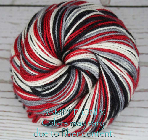 Dyed-To-Order: RED-BLACK-GRAY-WHITE - Sports Team Self Striping Sock Yarn - ATLANTA, HOUSTON