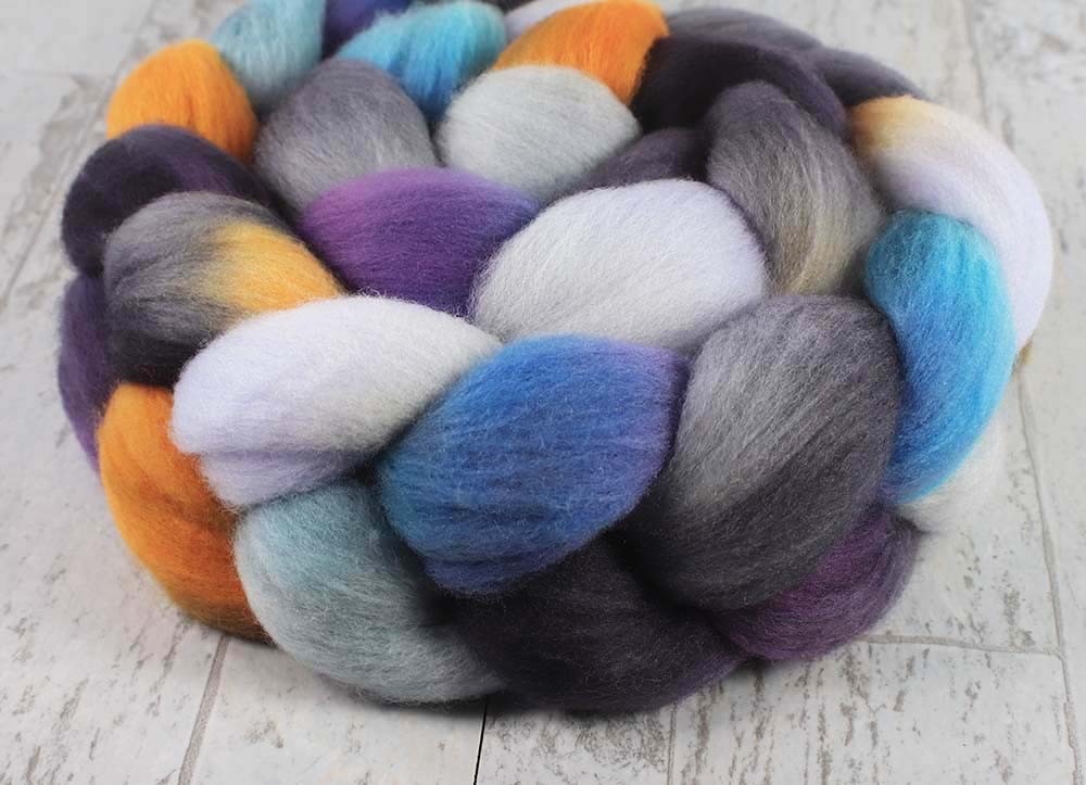 FIORIBUNDA: Organic Polwarth roving - 4.0 oz - Hand dyed Spinning wool