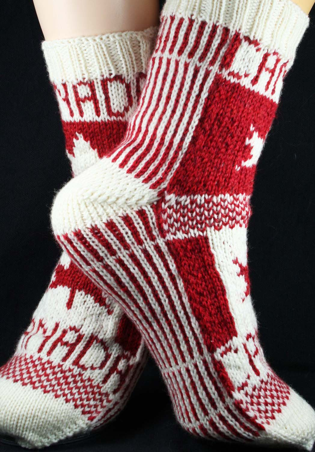 KNITTING PATTERN for Flag Socks: Canada -  Charted Sock pattern - digital download - Colorwork Stranded knitting