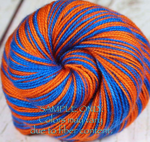 Dyed-To-Order: BLUE-ORANGE - Hand dyed Sports Team Self Striping Sock Yarn - FLORIDA
