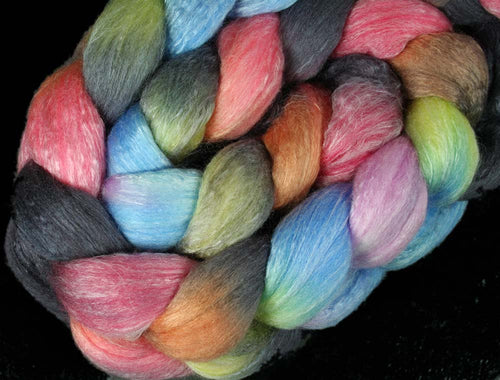 GLASS ART: Polwarth Seacell roving - 4.0 oz - Hand dyed wool roving - Spinning wool