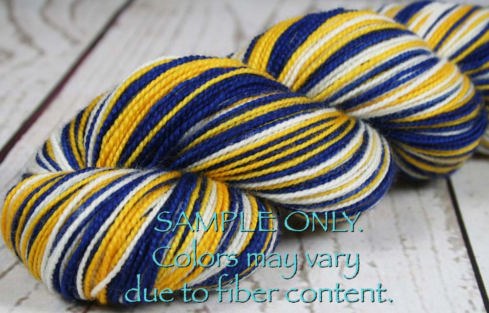 Dyed-To-Order: ROYAL BLUE-GOLD-WHITE - Hand dyed Sports Team Self Striping Sock Yarn - GOLDEN STATE