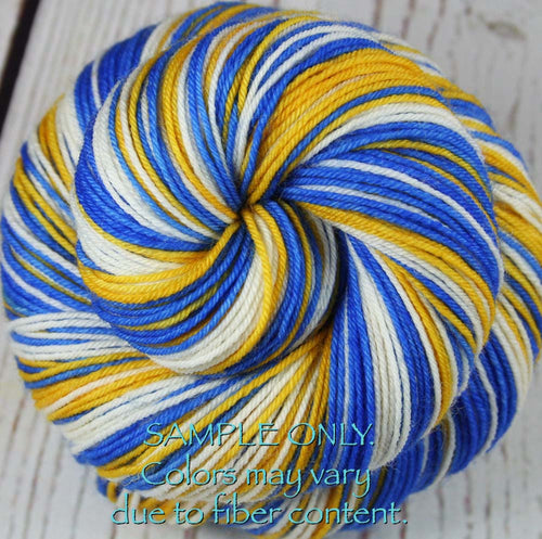 Dyed-To-Order: BRIGHT BLUE-GOLD-WHITE - Hand dyed Sports Self Striping Sock Yarn - GOLDEN STATE, LOS ANGELES