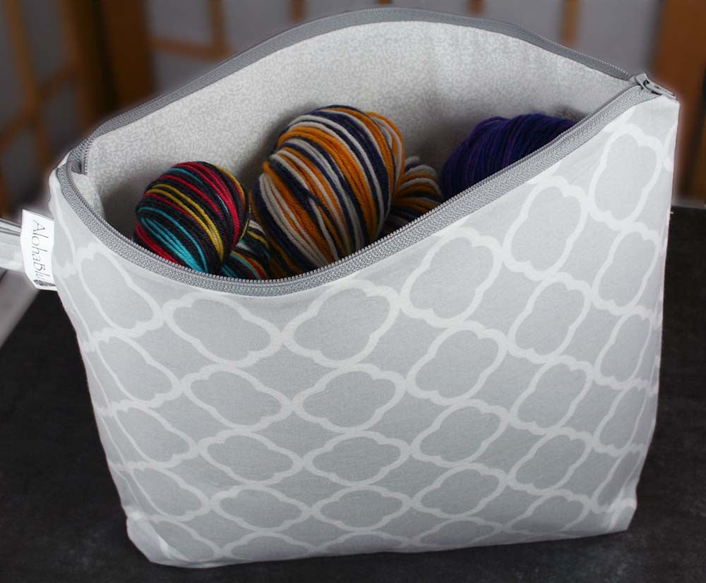Quatrefoil Project Bag - Gray handmade zipper bag - knitting bag - craft bag
