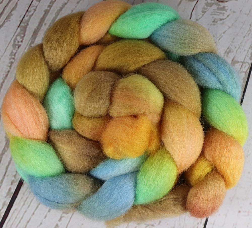 GRAND PRISMATIC HOT SPRING: Bluefaced Leicester - 4.0 oz - Hand dyed spinning wool - roving