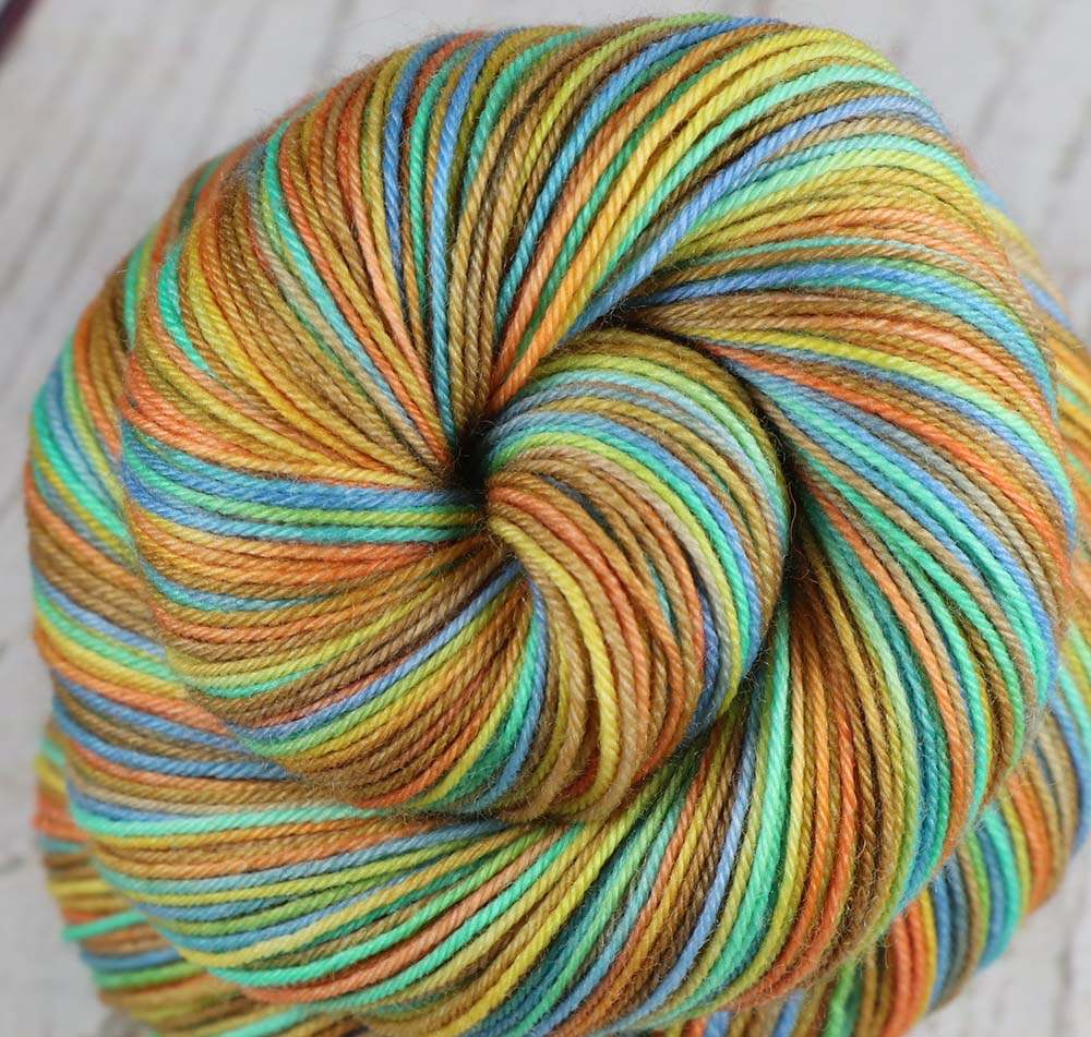 GRAND PRISMATIC HOT SPRING: SW Merino-Nylon - Hand dyed Variegated sock yarn