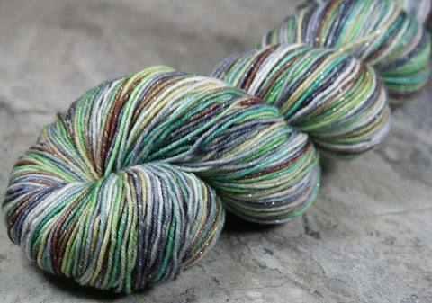 GRAND PRISMATIC HOT SPRING: SW Merino Wool-Silk- Hand dyed Variegated sock yarn