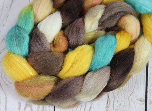 HORSE OF THE SPRING: Shetland-Silk roving - 4.0 oz - Hand dyed spinning wool - Masters Collection