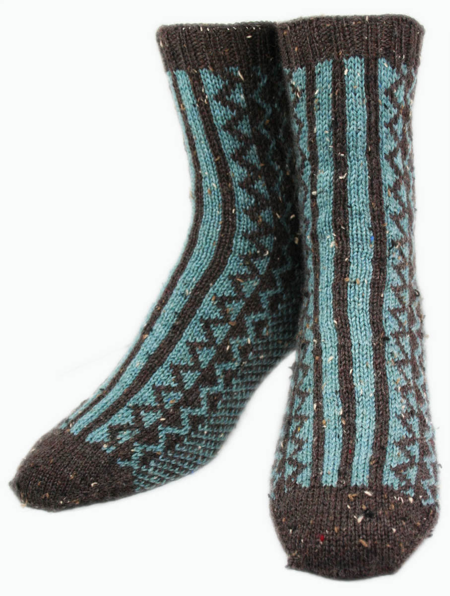 KNITTING PATTERN for Inlet Socks -  Charted Sock pattern - digital download - Colorwork Stranded knitting