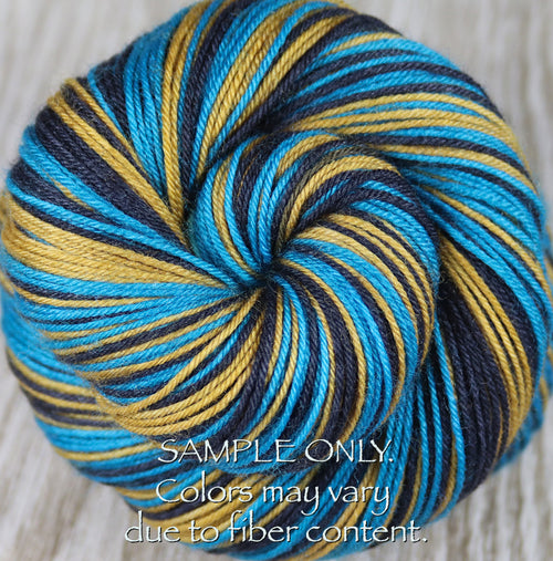 Dyed-To-Order: TEAL-BLACK-GOLD - Hand dyed Sports Team Self Striping Sock Yarn - JACKSONVILLE