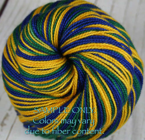 Dyed-To-Order: BLUE-GOLD-GREEN - Hand dyed Sports Team Self Striping Sock Yarn - UTAH