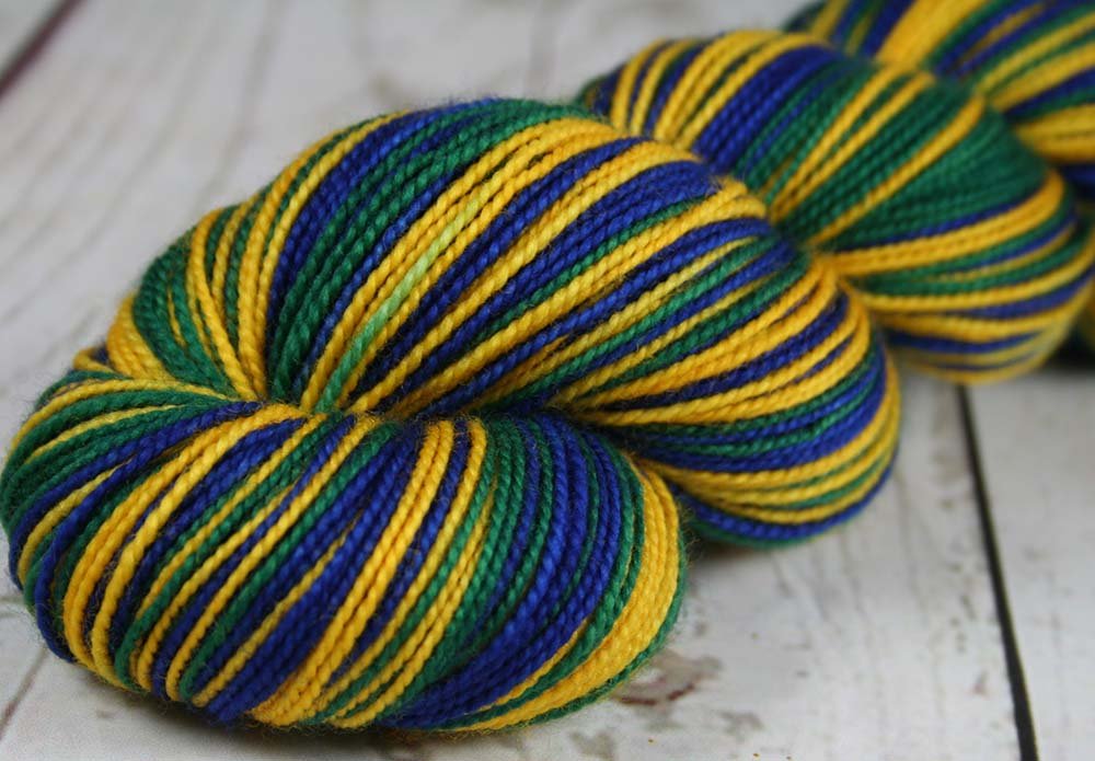 BLUE - GOLD - GREEN - Sports Team Self-striping Sock Yarn - Hand dyed, tight twist - UTAH