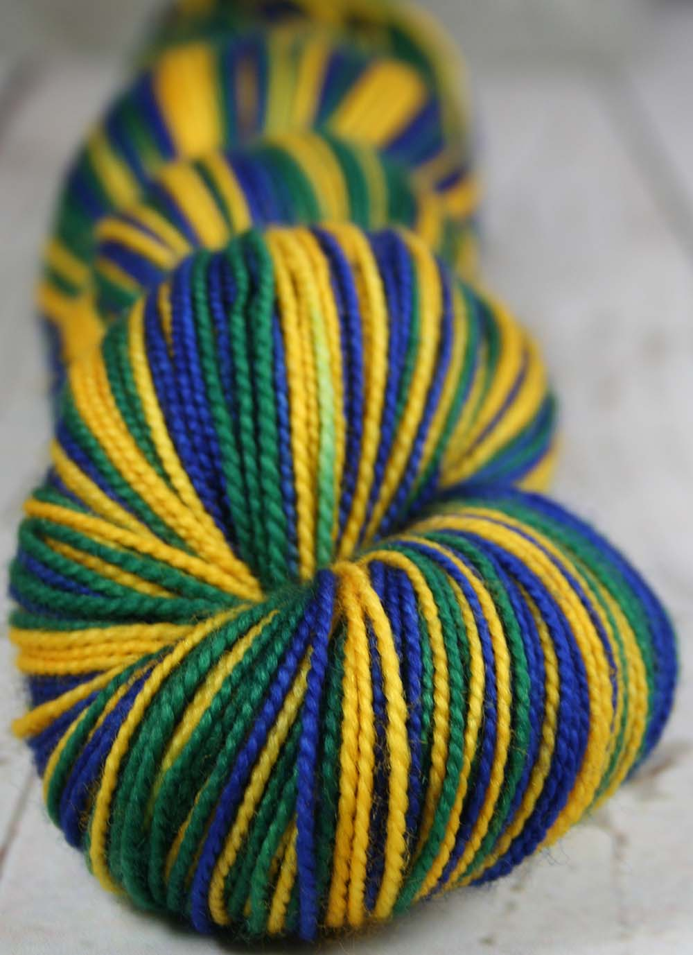 "Dyed-To-Order: Sports Team Self Striping Sock Yarn - ""BLUE-GOLD-GREEN"" - Hand dyed - UTAH"
