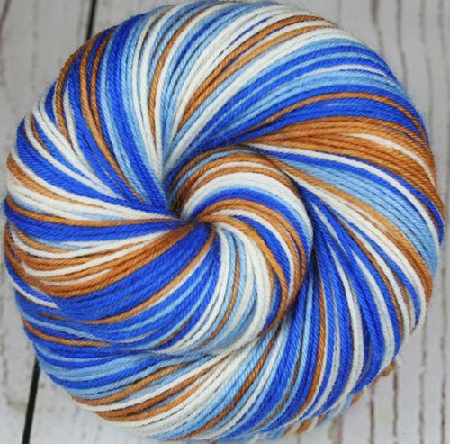 ROYALS: Superwash Merino-Nylon- Self-striping Sock Yarn - Hand dyed Baseball yarn - Team inspired yarn