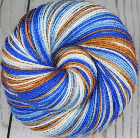 """LIGHT BLUE - GOLD"" - Sports inspired Self-striping Sock Yarn - Hand dyed sock yarn - Sports Team colors - School colors yarn - LOS ANGELES, CALIFORNIA"