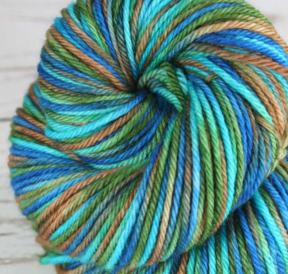 LANIKAI VIEW PART 2: Superwash Merino - Worsted weight yarn - Hand dyed Variegated worsted yarn - Ocean colors yarn