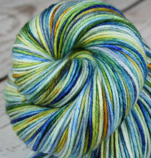 LAPIS LAZULI: Superwash Merino-Nylon - DK Yarn - Hand dyed Variegated Blue gemstone yarn