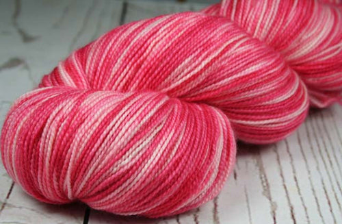 LAVA FLOW: SW Merino-Cashmere-Nylon Hand dyed Variegated sock yarn - Tropical pink