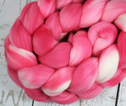 LAVA FLOW: Rambouillet Wool Top - 4 oz - Hand dyed wool - Indie dyed wool - Hand dyed top roving - Tropical drink wool - Pink wool