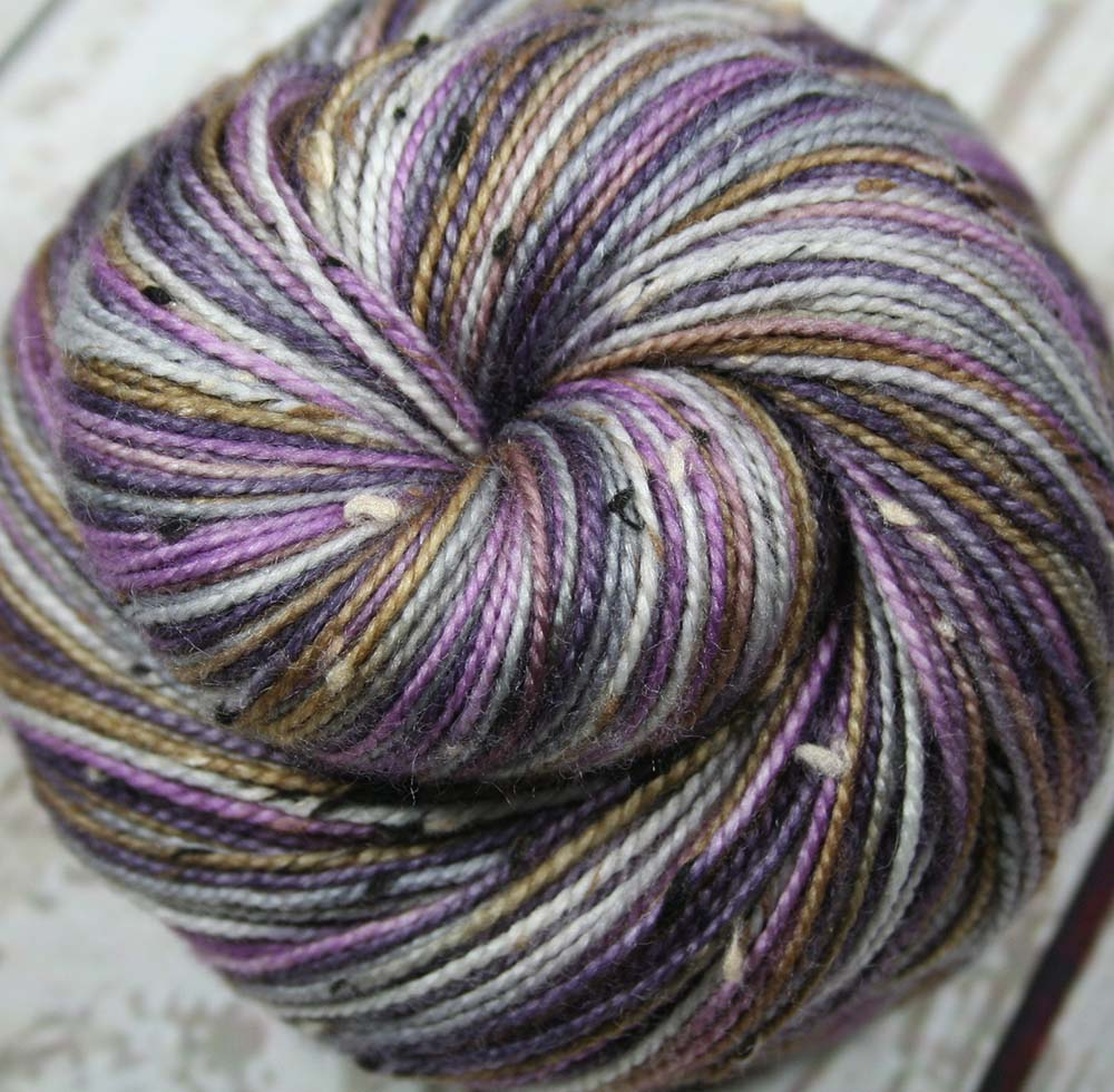 LAVENDER FIELDS: SW Merino-Donegal Tweed Sock yarn - Hand dyed variegated sock yarn